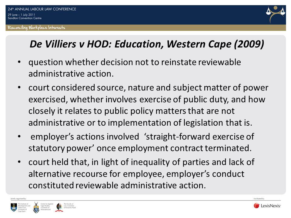 De Villiers v HOD: Education, Western Cape (2009)