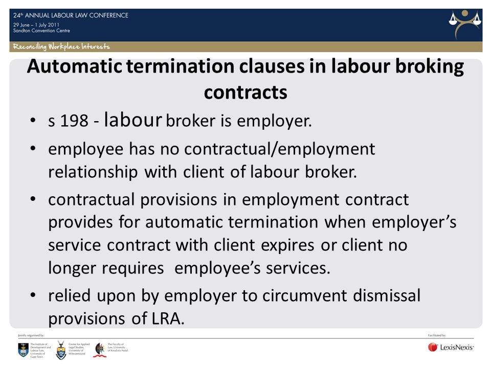 Automatic termination clauses in labour broking contracts
