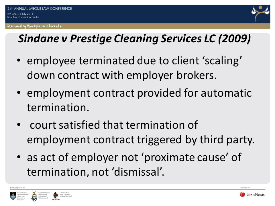 Sindane v Prestige Cleaning Services LC (2009)