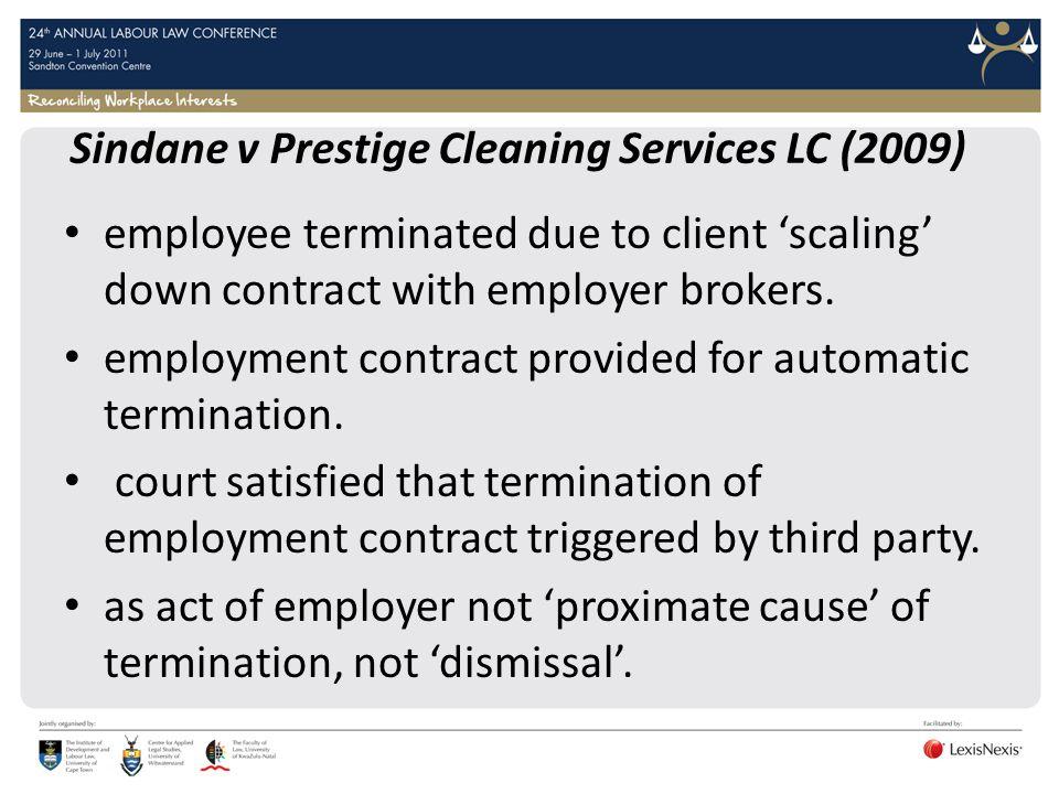Sindane v Prestige Cleaning Services LC (2009)