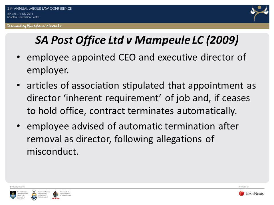 SA Post Office Ltd v Mampeule LC (2009)