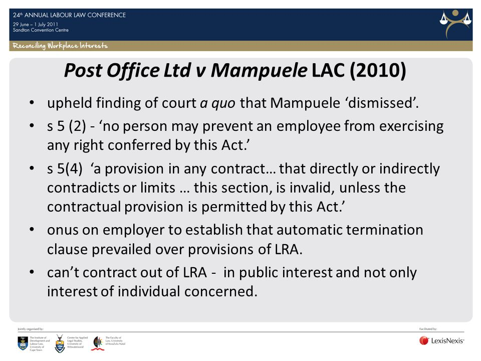 Post Office Ltd v Mampuele LAC (2010)