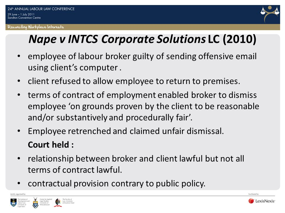 Nape v INTCS Corporate Solutions LC (2010)