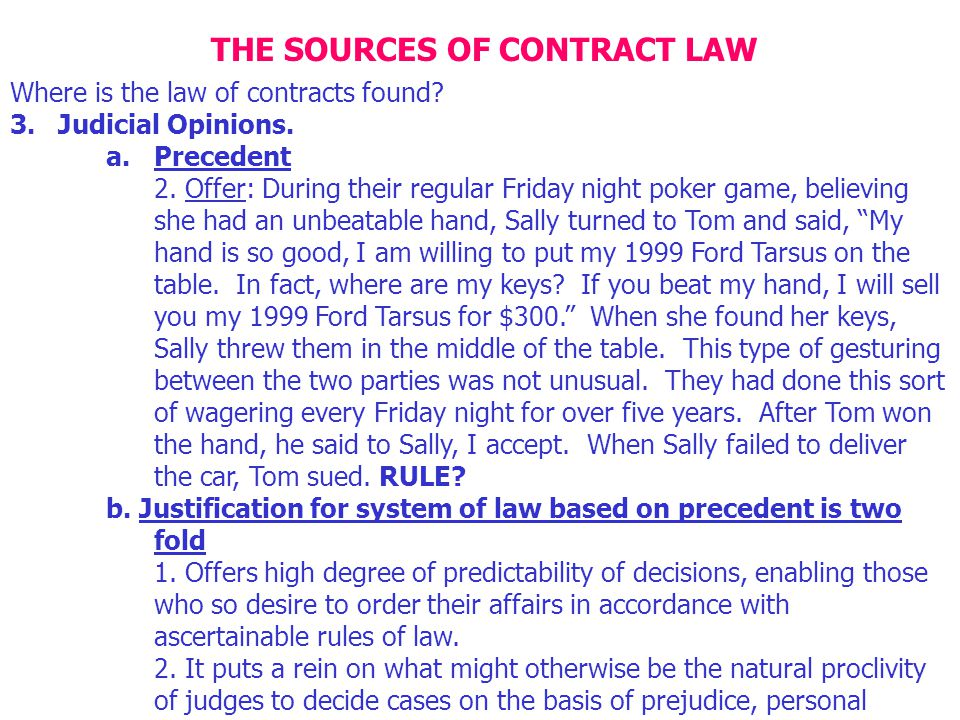 THE SOURCES OF CONTRACT LAW