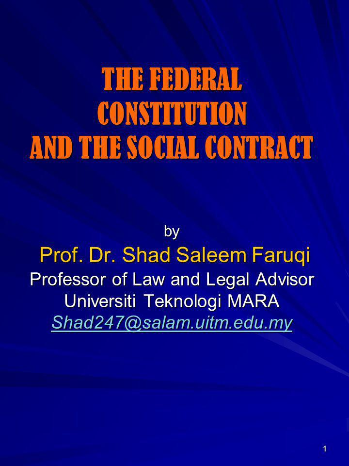THE FEDERAL CONSTITUTION AND THE SOCIAL CONTRACT by Prof. Dr
