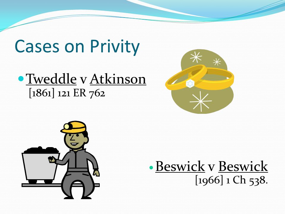 Cases on Privity Tweddle v Atkinson Beswick v Beswick