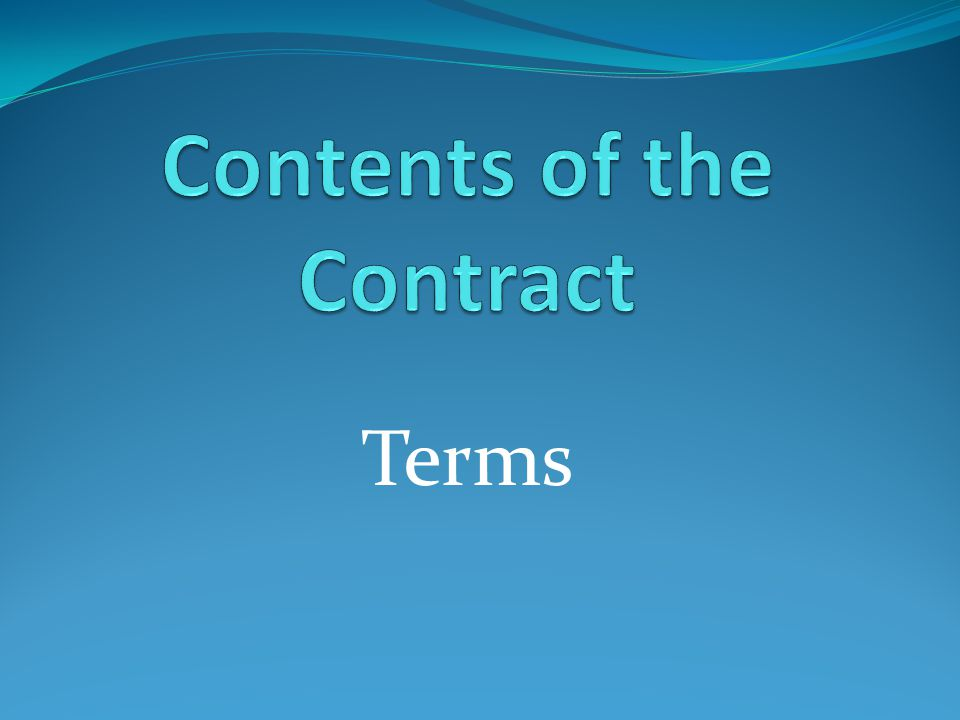 Contents of the Contract