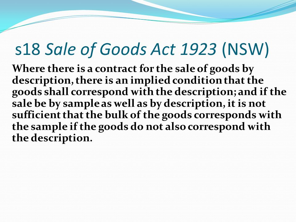 s18 Sale of Goods Act 1923 (NSW)