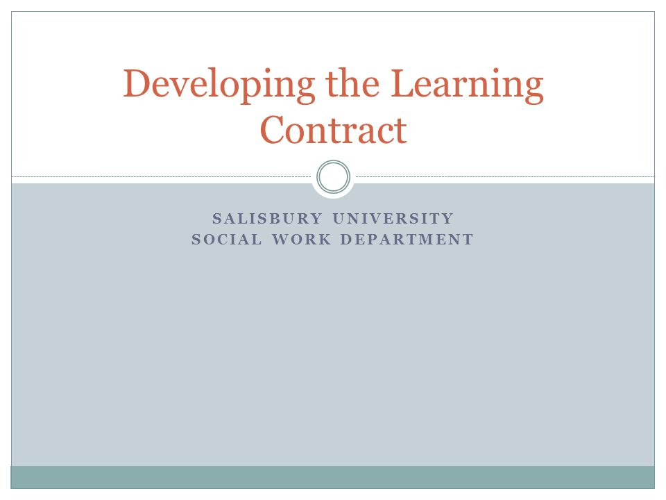 Developing the Learning Contract