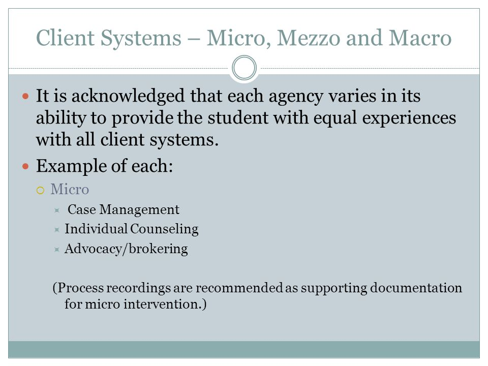 Client Systems – Micro, Mezzo and Macro