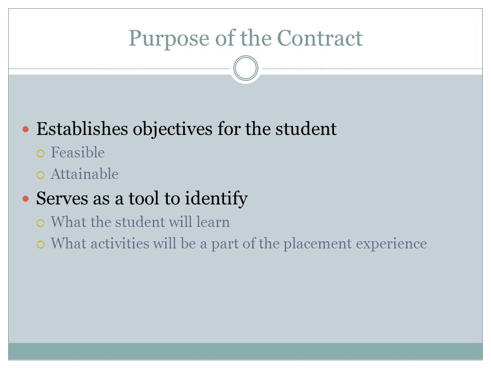Purpose of the Contract
