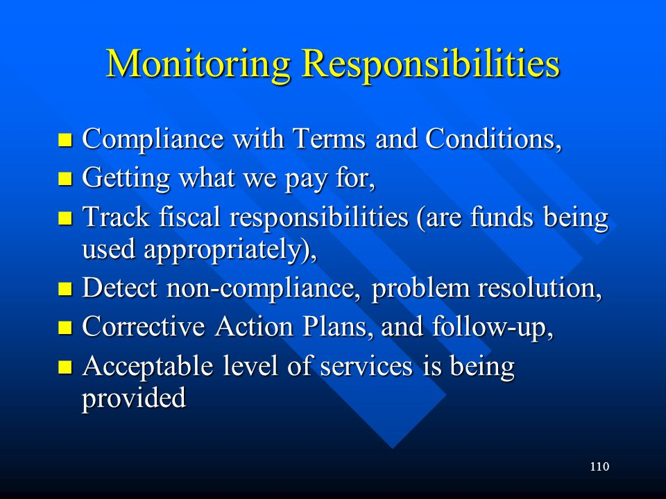 Monitoring Responsibilities
