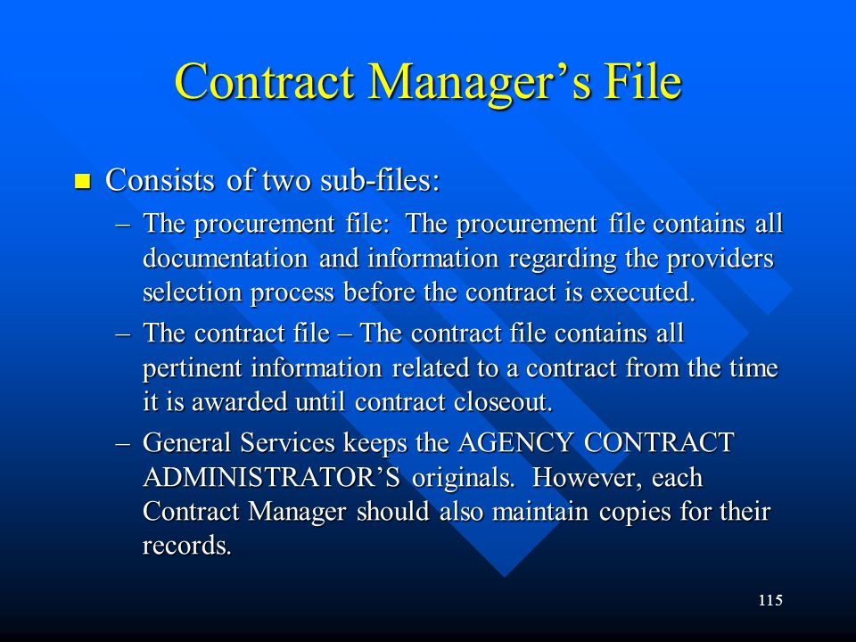 Contract Manager's File