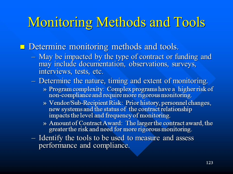 Monitoring Methods and Tools