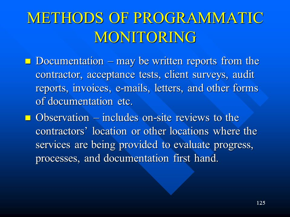 METHODS OF PROGRAMMATIC MONITORING