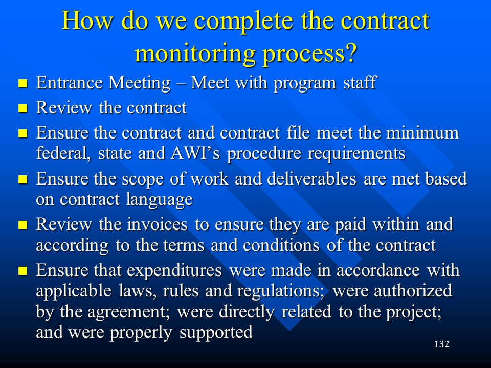 How do we complete the contract monitoring process
