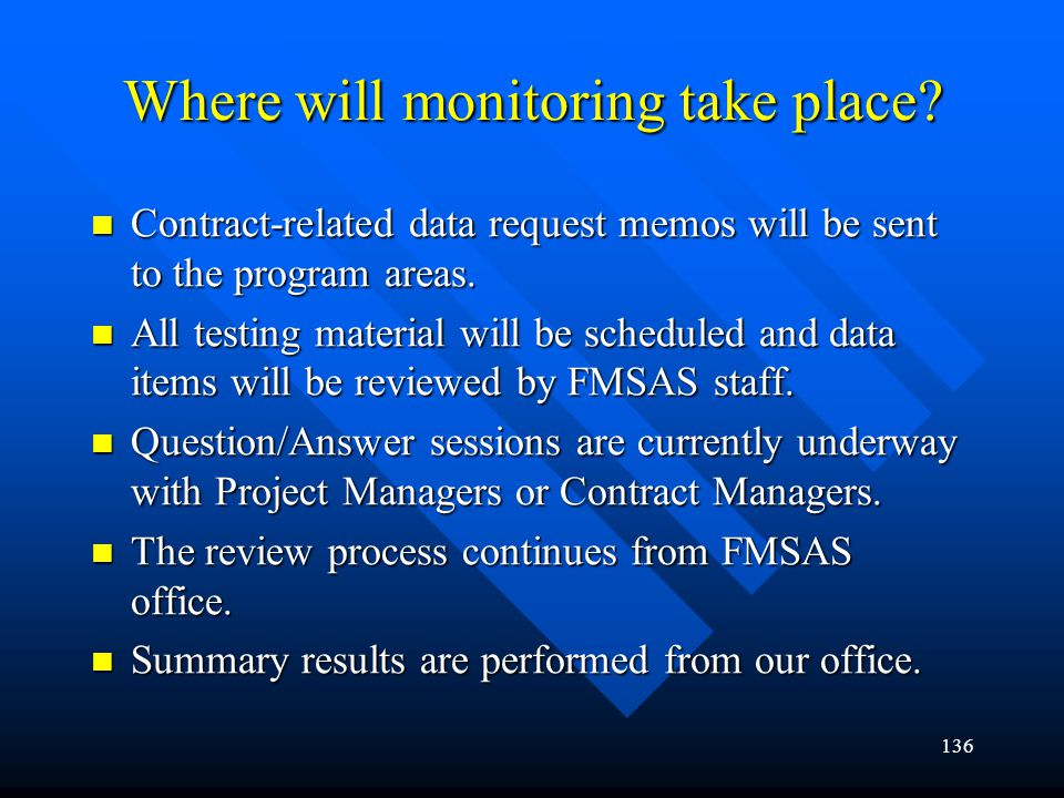 Where will monitoring take place