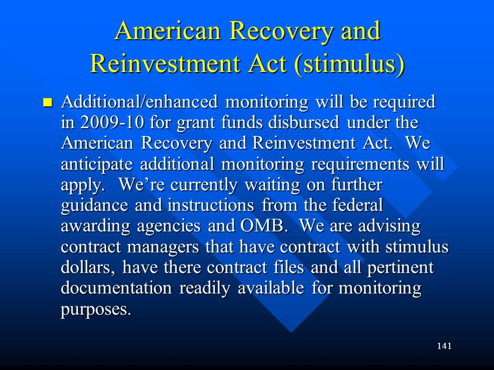 American Recovery and Reinvestment Act (stimulus)