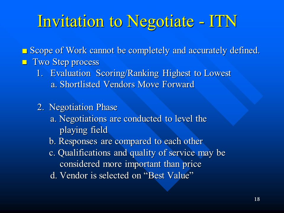 Invitation to Negotiate - ITN