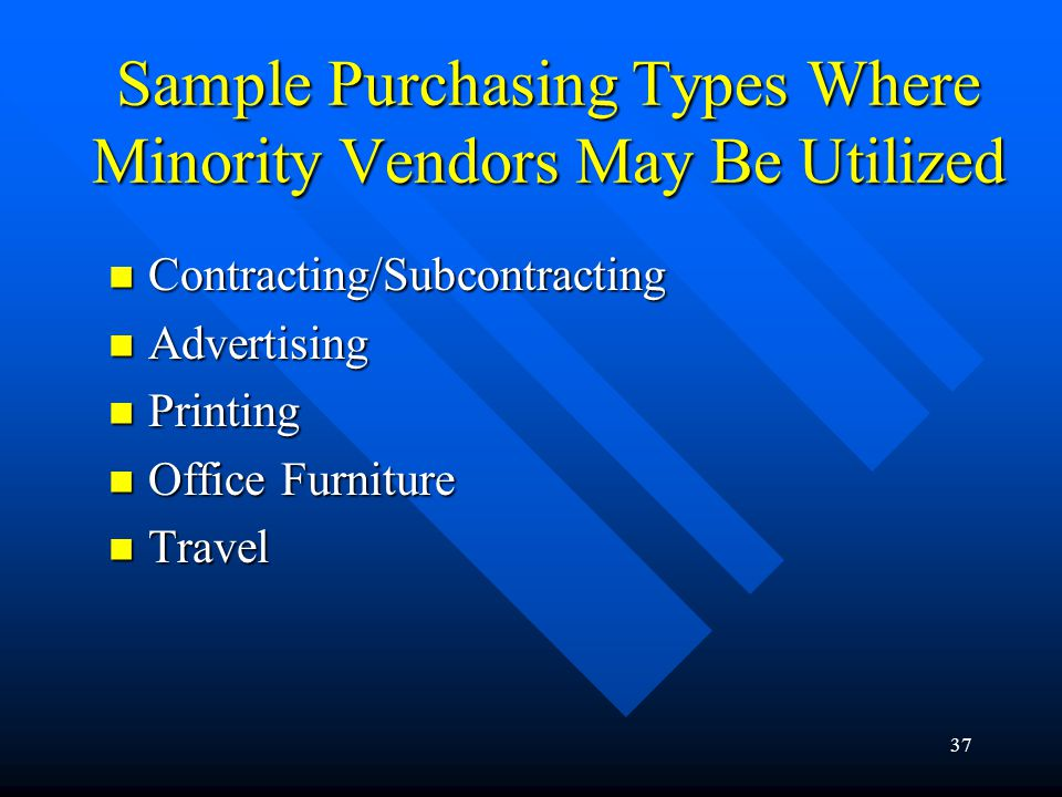 Sample Purchasing Types Where Minority Vendors May Be Utilized