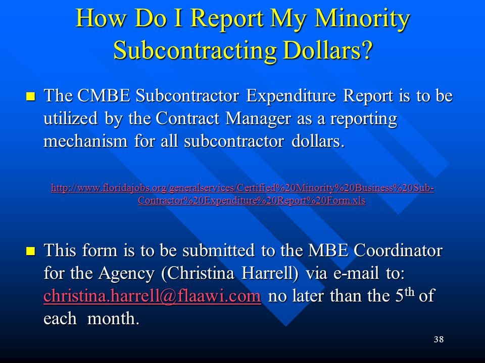 How Do I Report My Minority Subcontracting Dollars