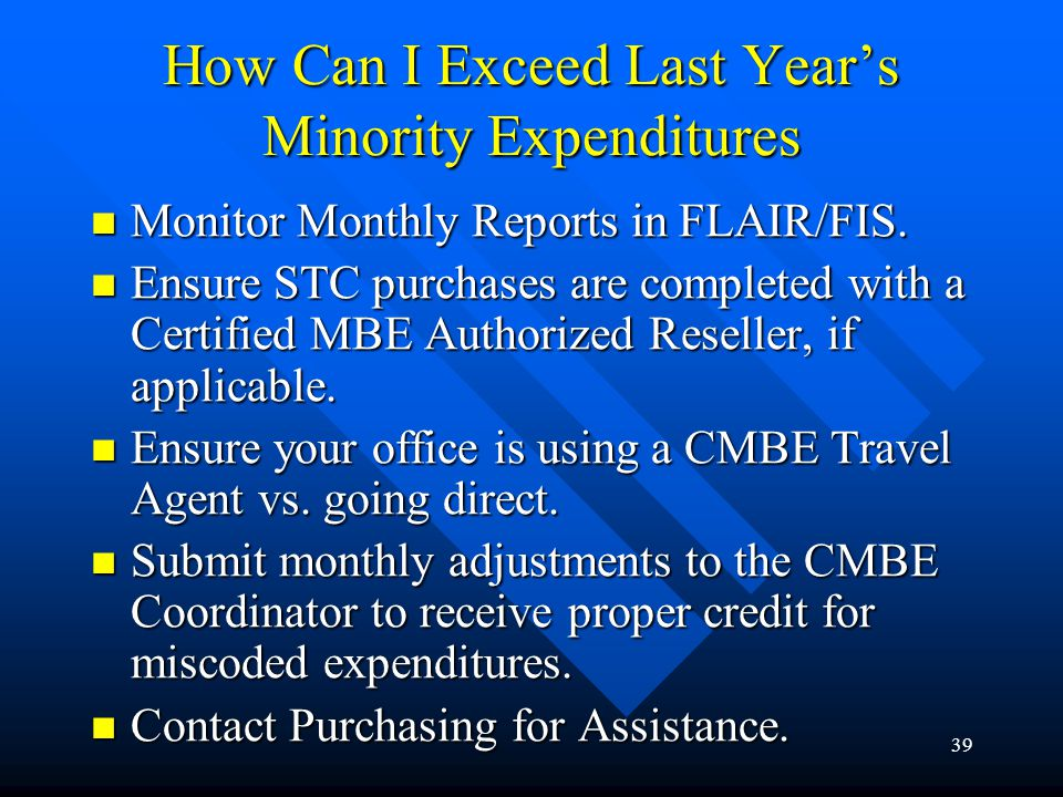 How Can I Exceed Last Year's Minority Expenditures