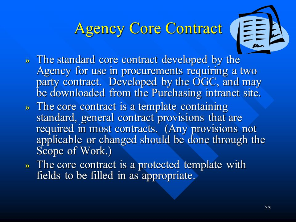 Agency Core Contract