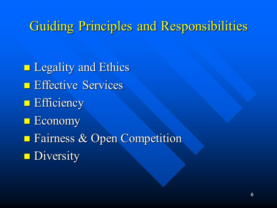 Guiding Principles and Responsibilities