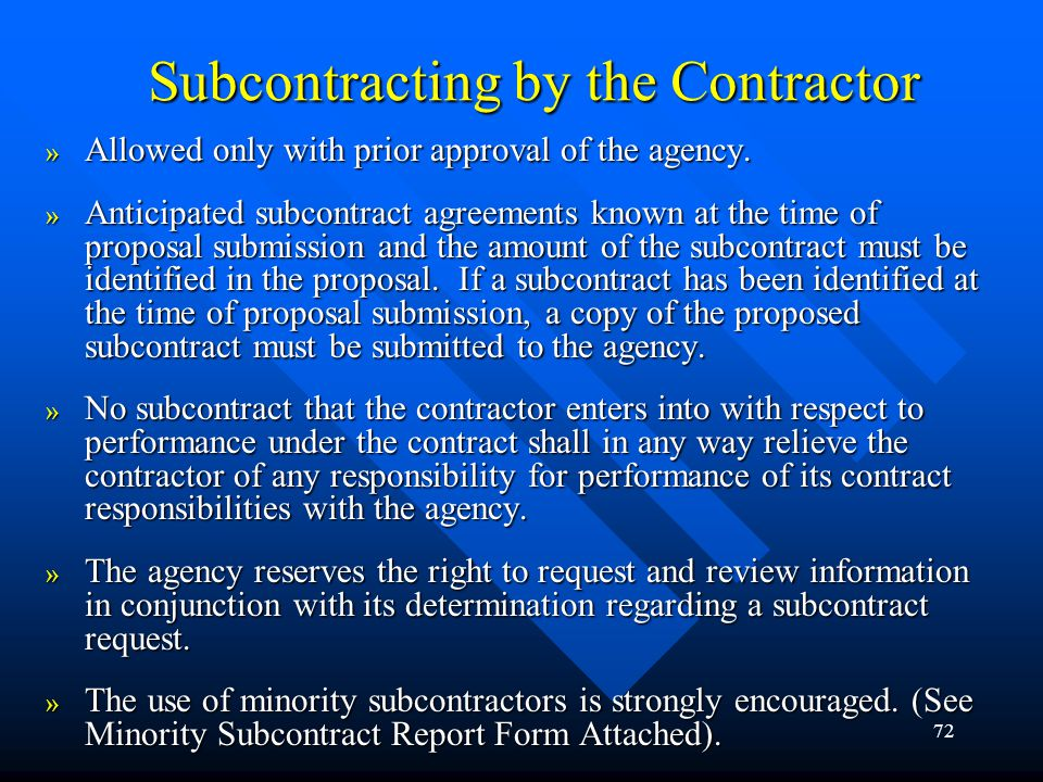Subcontracting by the Contractor