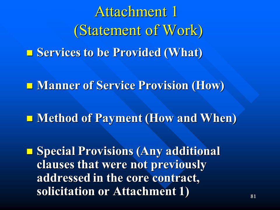 Attachment 1 (Statement of Work)