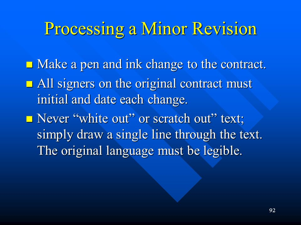 Processing a Minor Revision