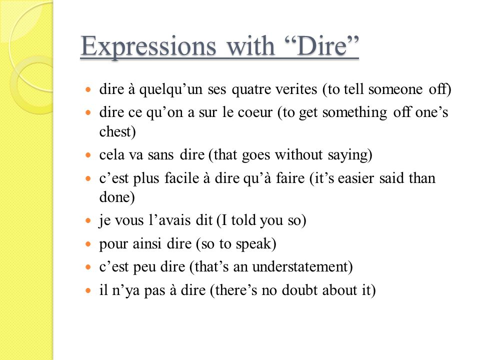 Expressions with Dire