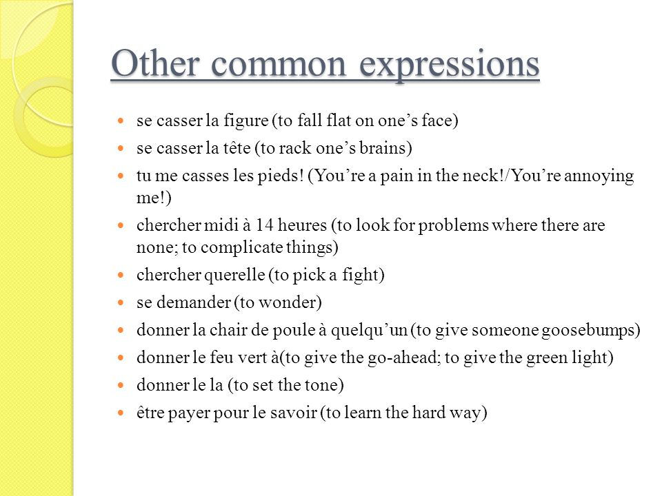 Other common expressions
