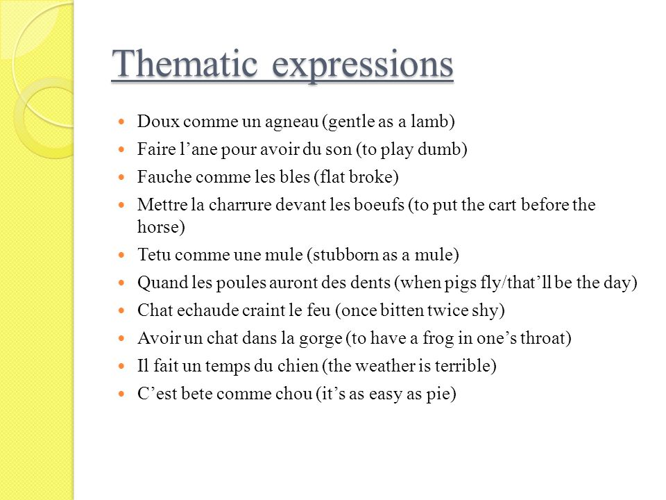 Thematic expressions Doux comme un agneau (gentle as a lamb)