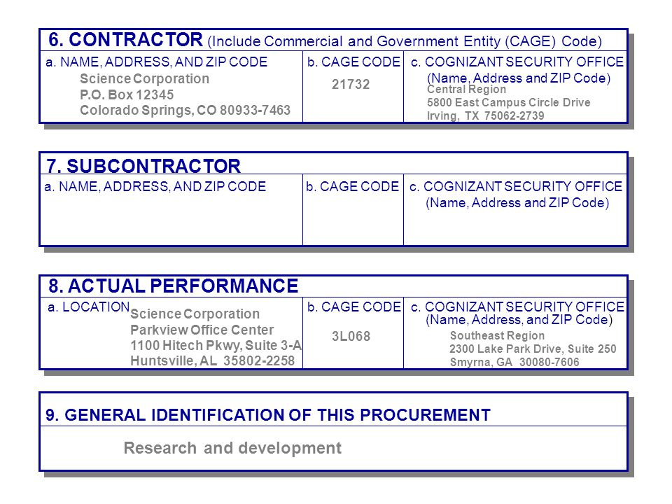 6. CONTRACTOR (Include Commercial and Government Entity (CAGE) Code)