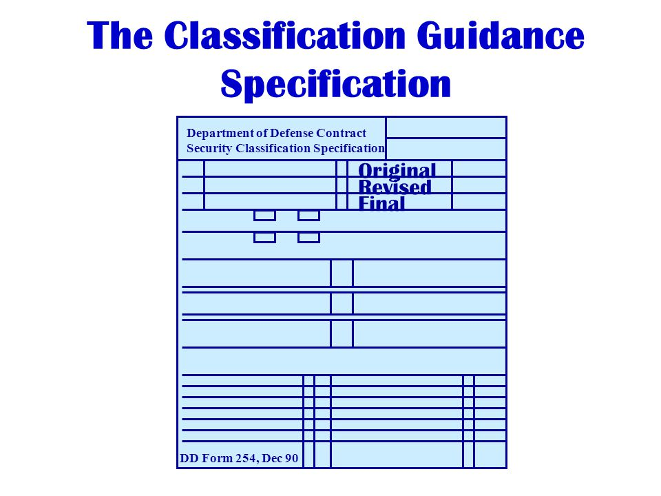 The Classification Guidance Specification