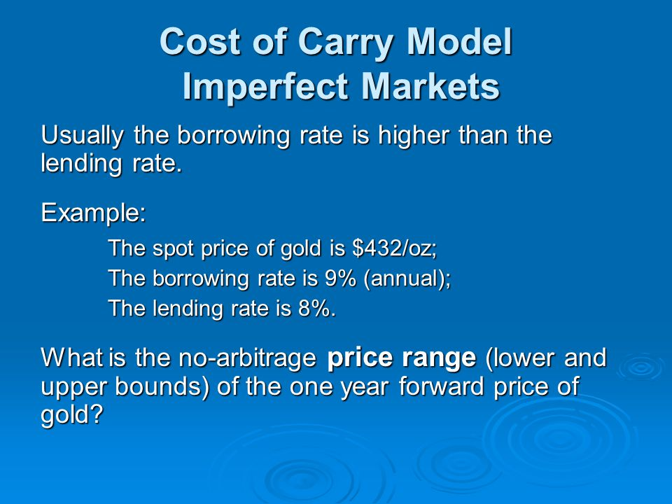 Cost of Carry Model Imperfect Markets
