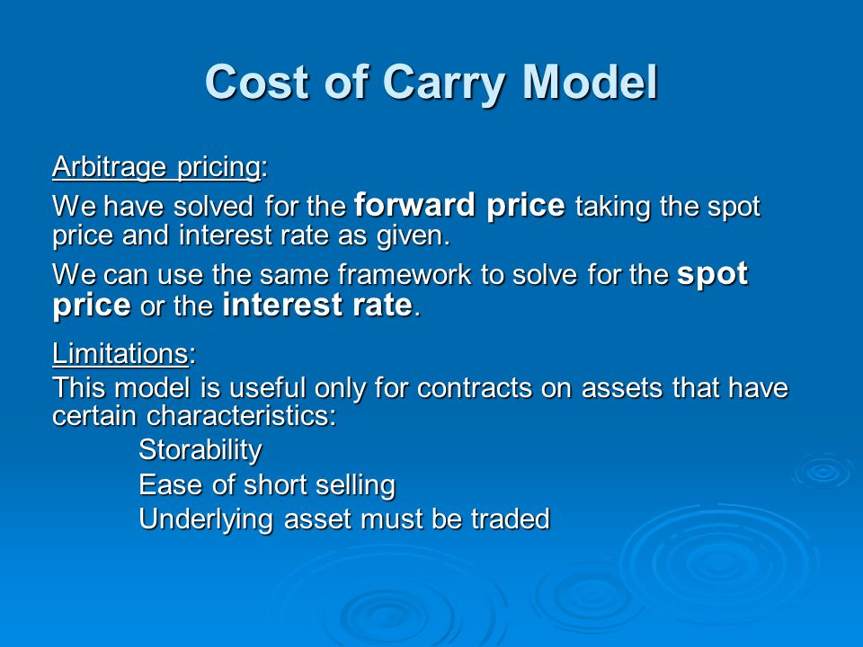 Cost of Carry Model Arbitrage pricing: