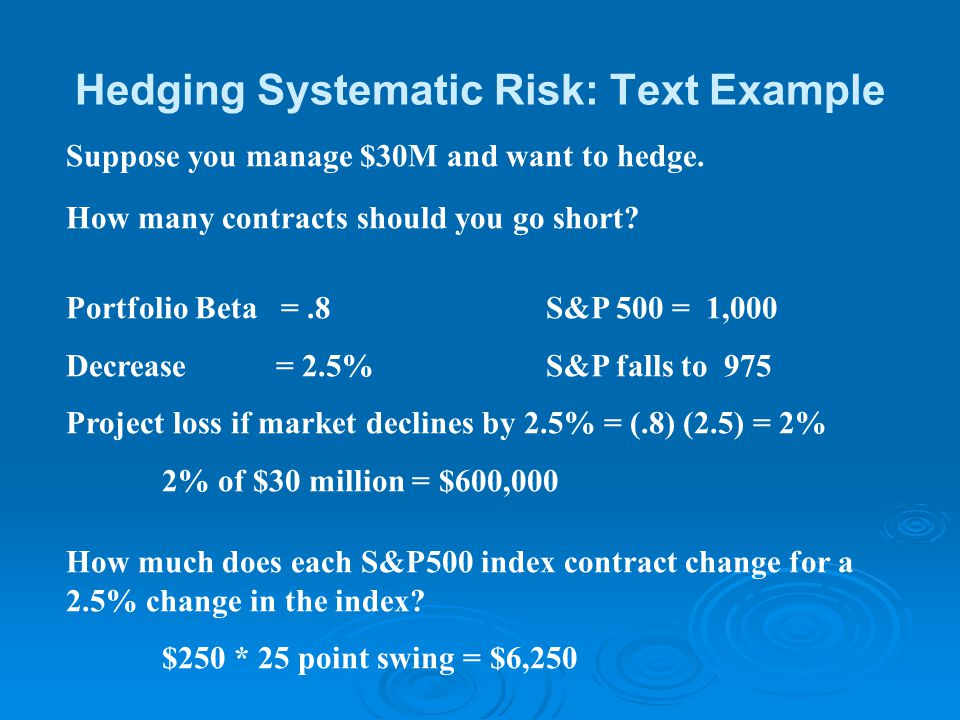 Hedging Systematic Risk: Text Example