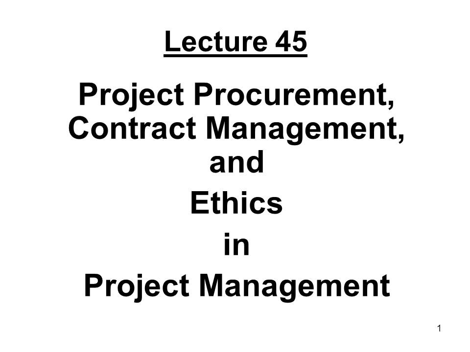 Project Procurement, Contract Management, and