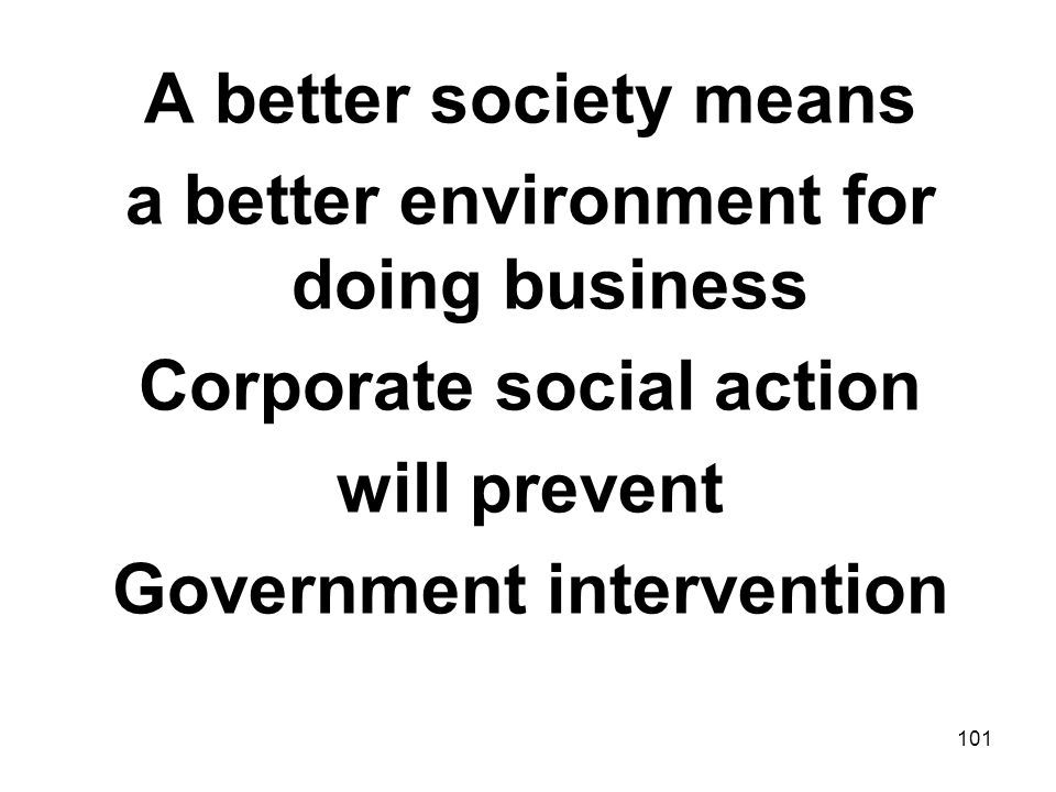 a better environment for doing business Corporate social action
