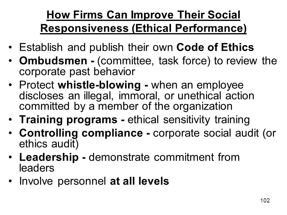 How Firms Can Improve Their Social Responsiveness (Ethical Performance)