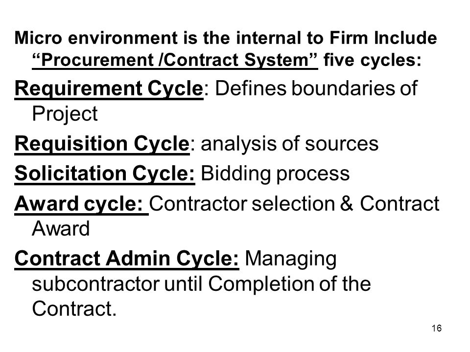 Requirement Cycle: Defines boundaries of Project