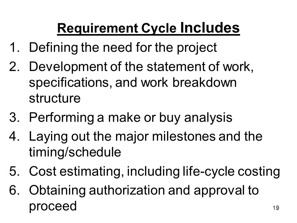 Requirement Cycle Includes