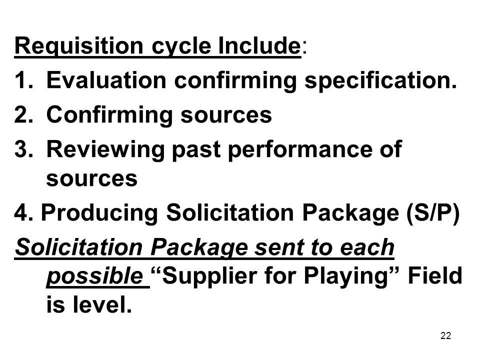Requisition cycle Include: