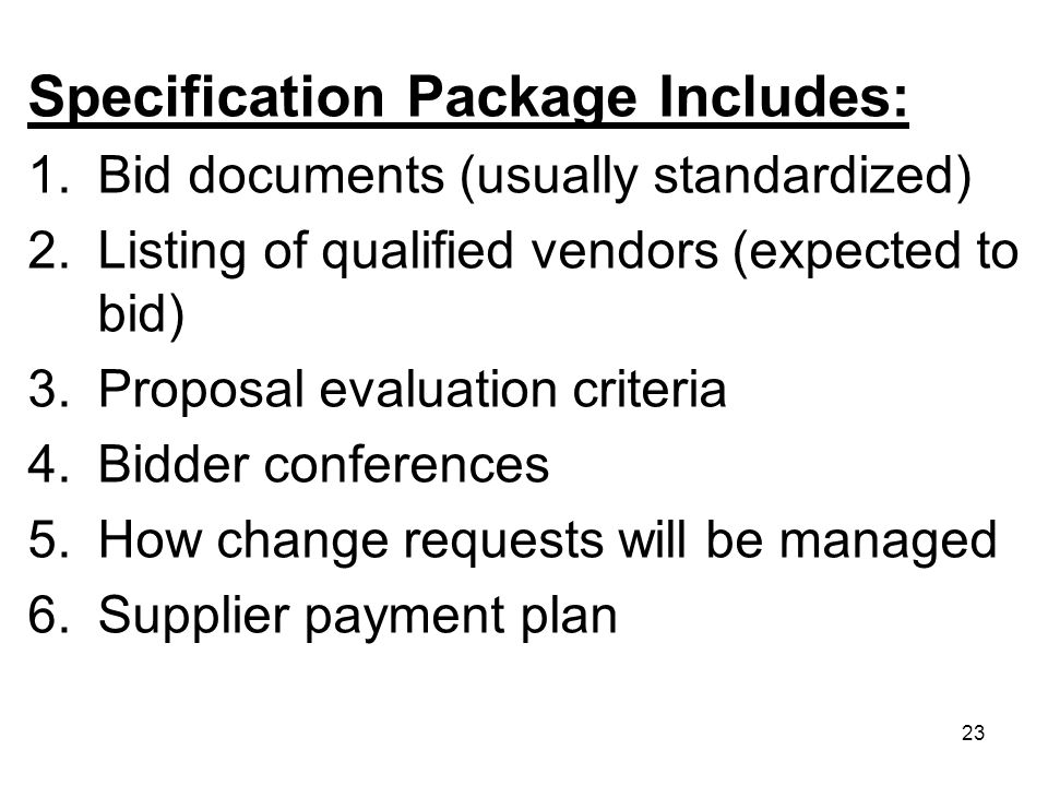 Specification Package Includes: