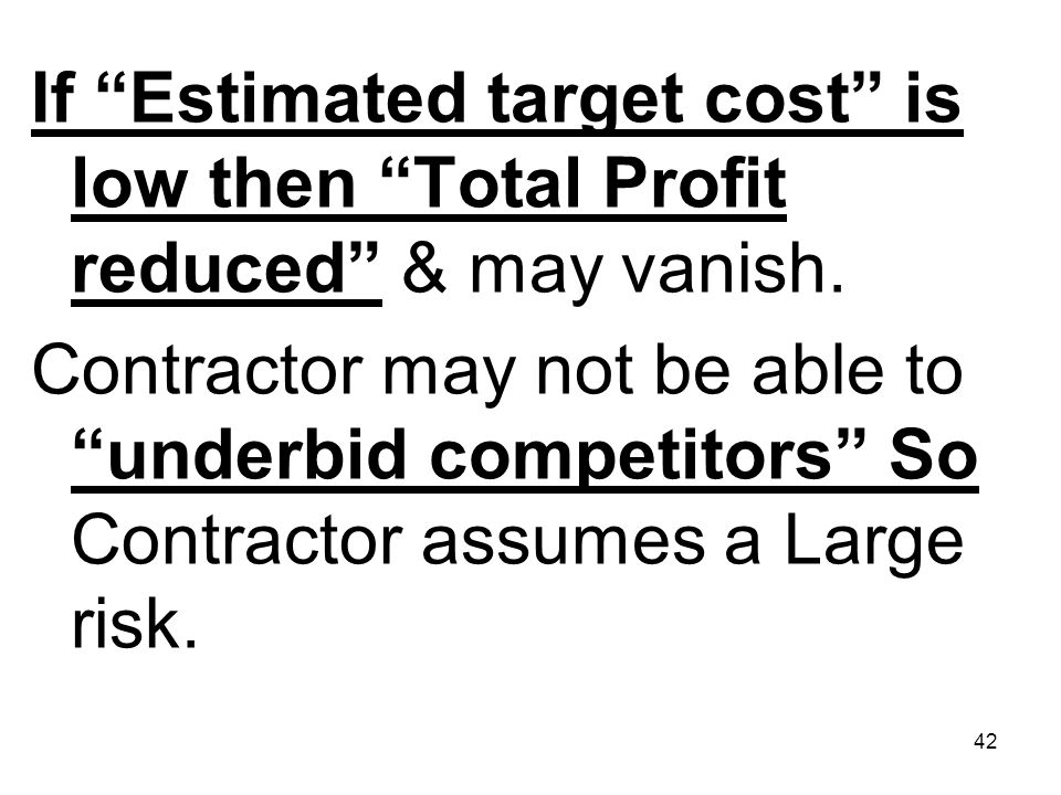 If Estimated target cost is low then Total Profit reduced & may vanish.