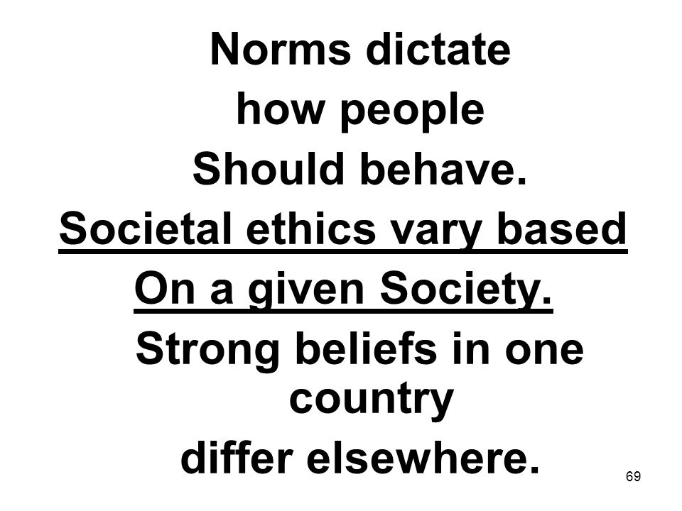 Societal ethics vary based Strong beliefs in one country