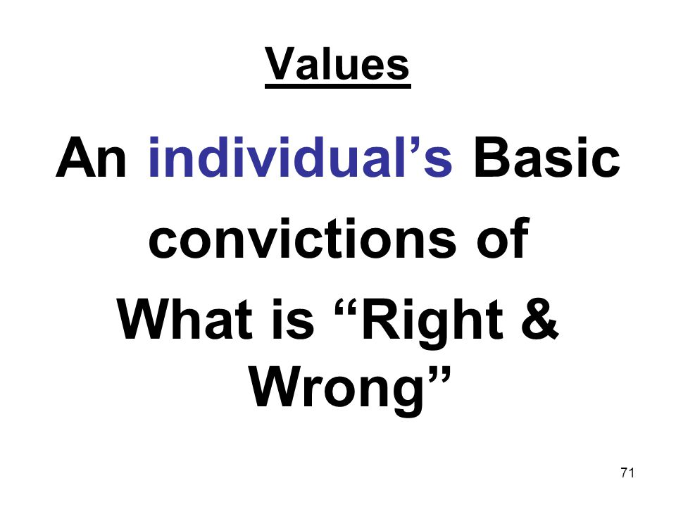 An individual's Basic convictions of What is Right & Wrong