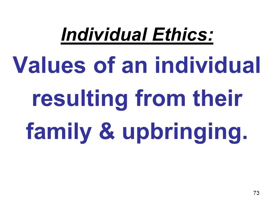 Values of an individual